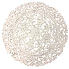 verano carved wooden round wall art