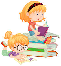 Two children reading books in school - Download Free Vectors, Clipart Graphics & Vector Art