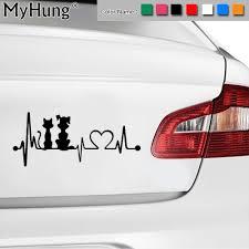 19 8 2cm Dog And Cat Heartbeat Car Stickers Puppy Kitten Fashion Anima Vango Decals