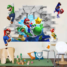 Kids Games Super Mario Pvc Wall Stickers Bros 3d View Stickers Decals Mural Home Decor Wall Stickers Wall Stickers Aliexpress