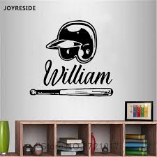 Joyreside Baseball Cap Wall Custom Name Decals Vinyl Sticker Kids Boys Room Home Living Room Sports Art Personalized Mural A1601 Wall Stickers Aliexpress