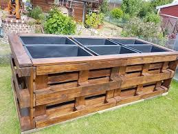 raised bed of palletortar tubs