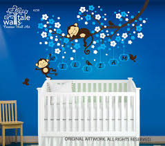 Cherry Tree Wall Decals With Monkeys Birds And Name Decals For Nursery