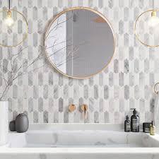 Picket Fence Carrara White Marble Stone Mosaic Tile Bath Wall And Floor Kitchen Backsplash Backsplash Bath Ca In 2020 Stone Mosaic Tile Stone Mosaic Kitchen Flooring