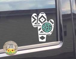 A Personal Favorite From My Etsy Shop Https Www Etsy Com Listing 583081788 Cactus Decal Aztec Cactus Decal Monogr Monogram Decal Patterned Vinyl Laptop Decal