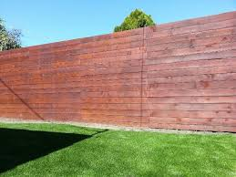 Horizontal Redwood Fence 7 Feet Tall With Transparent Stain Http Harwelldesign Com Building A Fence Fence Decor Redwood Fence