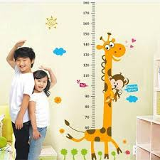 Removable Height Chart Wall Sticker Cartoon Animals Height Measure For Kids Rooms Growth Chart Nursery Room Decor Wall Art In 2020 Wall Stickers Cartoon Kids Room Wall Stickers Art Wall Kids
