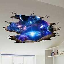 Amazon Com Amaonm Creative 3d Blue Cosmic Galaxy Wall Decals Removable Pvc Magic 3d Milky Way Outer Space Planet Windo Floor Decal Floor Stickers Space Decals