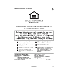 Complyright Federal Fair Hud Equal Housing Opportunity Spanish Poster E8113 Quill Com