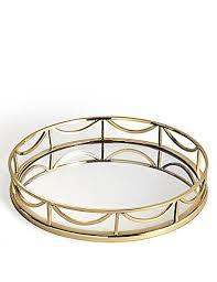decorative round mirror tray gold mix