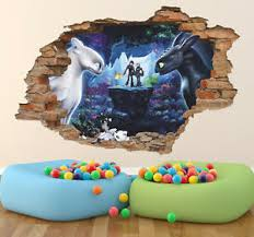 Toothless And Light Fury And Three Whelps 3d Wall Decal Removable Wall Sticker Ebay