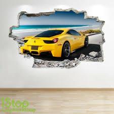 Yellow Ferrari Wall Sticker 3d Look Boys Kids Bedroom Supercar Wall Decal Z746 Ebay