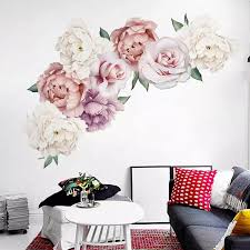 Large Size Peony Flowers Wall Decals Peel And Stick Floral Romantic Rose Wall Sticker For Home Bedroom Nursery Room Wall Decor Wall Stickers Aliexpress