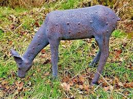 large bronze effect doe statue deer