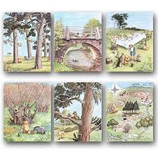 Set Of 6 Classic Winnie The Pooh Art Nursery Wall Decor Baby Prints Winnie S Forest Unframed