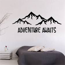 Adventure Awaits Wall Decal Mountain Wall Decal Wanderlust Baby Nursery Decal Vinyl Sticker For Boy Room Wall Decor Wl1156 Wall Stickers Aliexpress