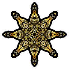 Wall Decal Living Room Mandala Star Black Gold Wall Sticker Etsy