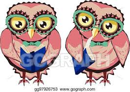 curious owl in teal glasses stock clip