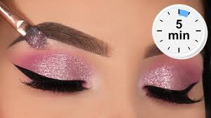 5 minute glitter eye makeup tutorial