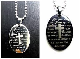 serenity prayer silver black oval