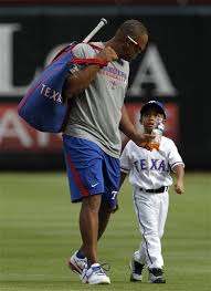 "Adrian Beltre with Adrian Jr. It's ""Baby Precious"" How cute ..."