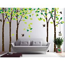 Amazon Com Amaonm 104 X71 Giant Large Jungle 5 Trees Wall Decals Green Leaves And Fly Birds Wallpaper Wall Decor Diy Vinyl Wall Stickers For Kids Bedroom Living Room Nursery Rooms Offices Walls Brown