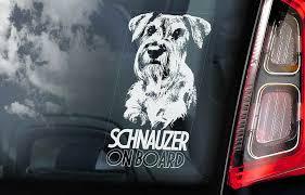 Schnauzer Car Sticker Standard Dog Window Bumper Sign Decal Gift Pet V01