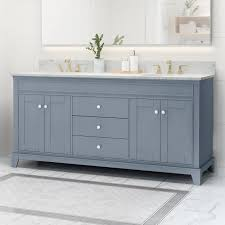 """Shop Feldspar Contemporary 72"""" Wood Double Sink Bathroom Vanity ..."""