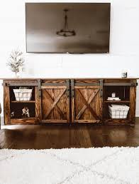 diy farmhouse tv console with sliding