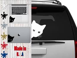 Peeking Cat Decal Choose Your Size Car Decal Laptop Decal Mug Decal Tumbler Decal Cup Decal Phone Decal By Veiledtrov In 2020 Cat Decal Bear Decal Peeking Cat