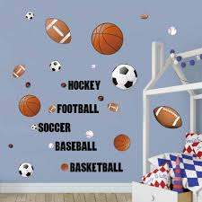 Decalmile Sports Wall Decals Boys Wall Stickers Soccer Baseball Football Hockey Basketball Wall Art For Boys Room Playroom Kids Room Wall Decor Amazon Com