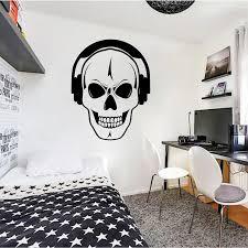Skull Vinyl Wall Decals Boys Room Decors Wall Stickers Home Decor Living Room Headphones Music Dj Teen Room Sticker Cool B495 Wall Stickers Aliexpress