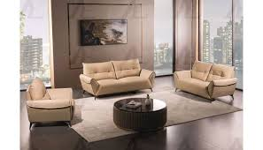 myles modern tan leather sofa