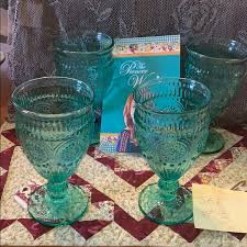 The Pioneer Woman Dining   New 4 Pioneer Woman Adeline Green Water Goblets    Poshmark