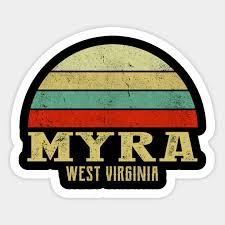 MYRA, WEST VIRGINIA Vintage Retro Sunset - Myra West Virginia - Autocollant  | TeePublic FR