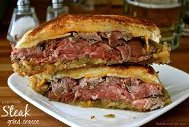 pub style steak grilled cheese with