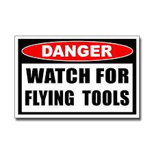 Watch For Flying Tools Vinyl Sticker Funny Mechanic Garage Etsy