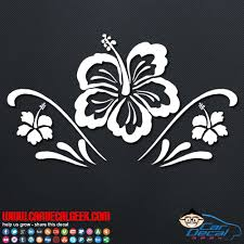 Tropical Hawaiian Hibiscus Flowers Car Window Decal Sticker