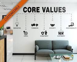 Core Values Office Our Values Motivational Inspiring Etsy Office Wall Decals Office Wall Graphics Office Wall Design