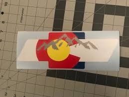 Chevy Bowtie W Colorado Flag And Mountains Car Window Decal Etsy