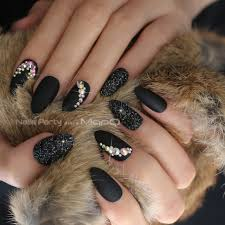 Black Matte Glitter Art Nails Box Match Press On Nails Burgundy Ab