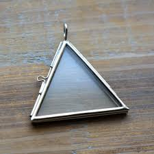 silver glass frame pendant triangle