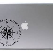 Not All Those Who Wander Are Lost Compass Car Sticker Bumper Window Laptop Decal