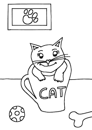 Kleurplaat Kat In Kopje Ik Wil Een Poes Nl