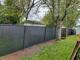 Black Chain Link Fence With Black Privacy Slats Black Chain Link Fence Outdoor Chain Link Fence
