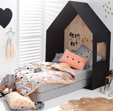 Black White And Peach Kids Room Inspiration Kid Room Decor Childrens Beds
