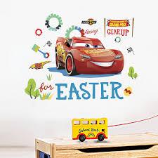 Hot Promo 049e Disney Mcqueen Cars Wall Stickers Kids Room Wallpaper Sticker Accesssories Wall Decor Cartoon Car Wall Decor For Kindergarten Cicig Co