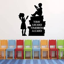 Amazon Com Customvinyldecor Vinyl Wall Decal Reading Quote Today A Reader Tomorrow A Leader With Children Reading Classroom Or Home Decor Sticker For Bedroom Playroom Classroom Or Book Nook Home