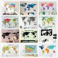 Various Colorful World Map Removable Vinyl Decal Wall Sticker Home Room Decor Home Garden Decor Decals Stickers Vinyl Art