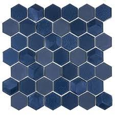 glass mosaic tile hexagon ink blue
